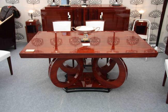 Table art deco à rallonges en palissandre des indes