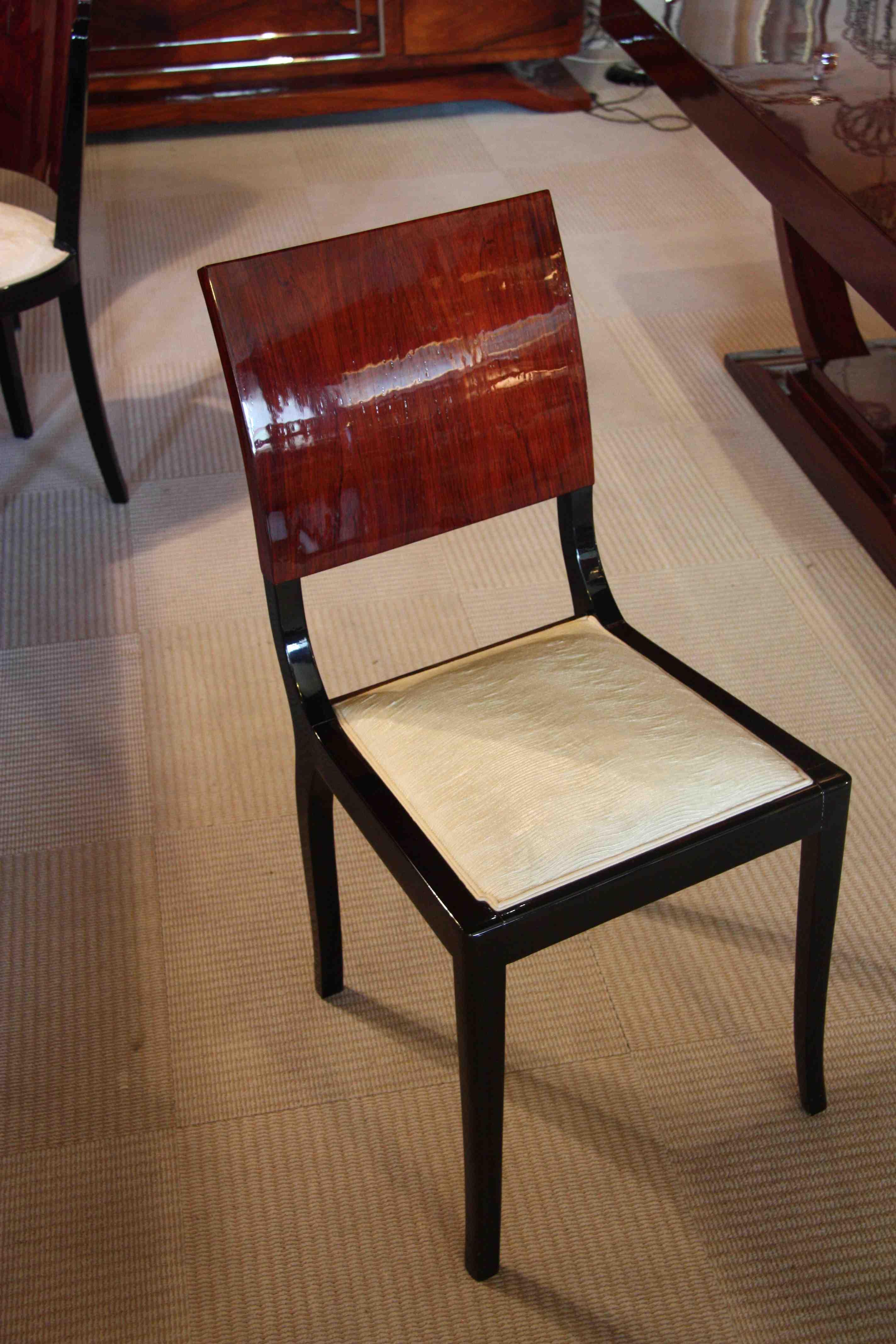 6 chaises chairs art deco en palissandre de rio art deco. Black Bedroom Furniture Sets. Home Design Ideas