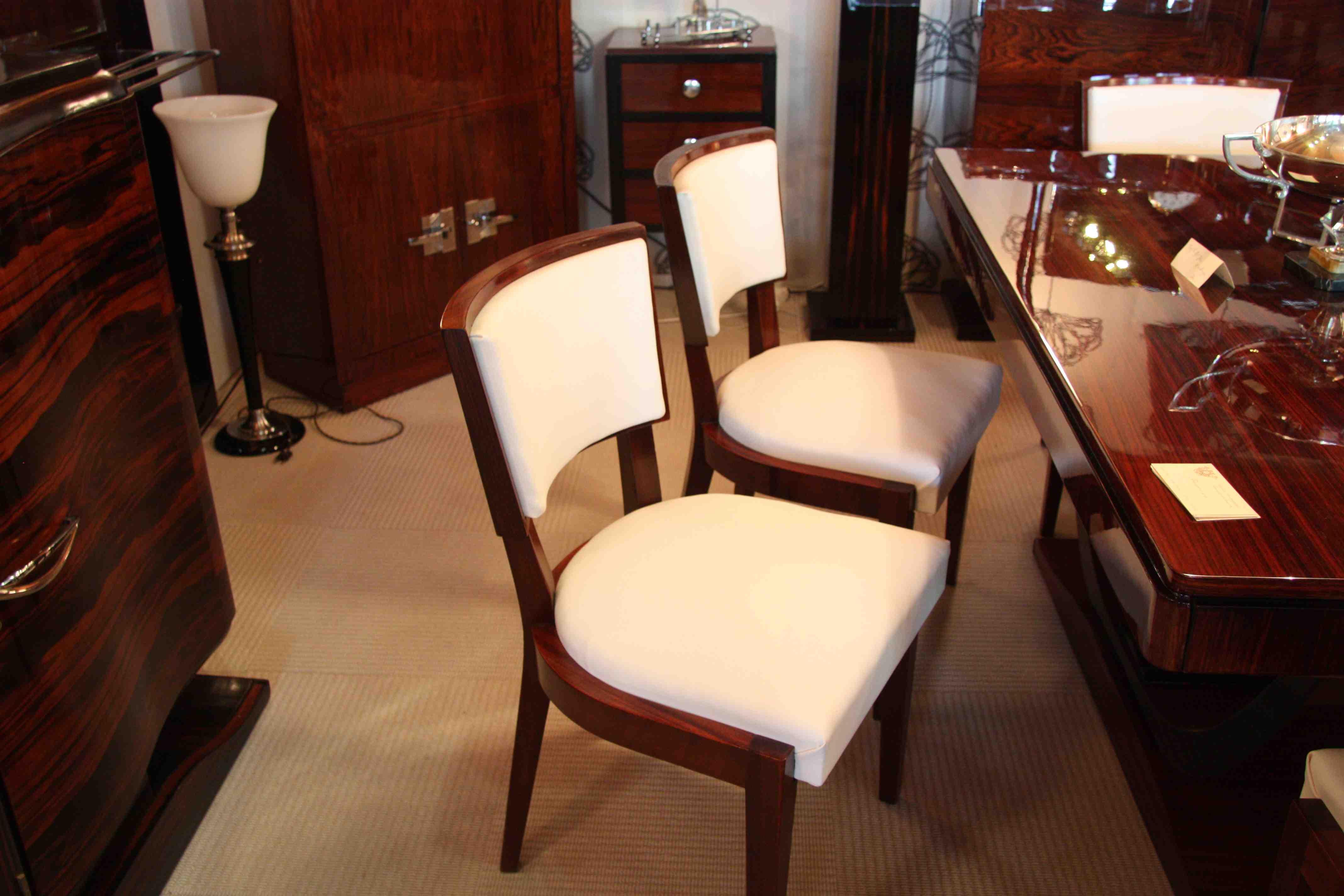 A Voir Aussi 6 Chaiseschairs Art Deco Laque Noir Dining Room Chair