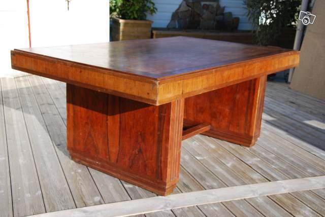 Table à rallonges art déco en palissandre de Rio et acajou/art deco dining room table rosewood