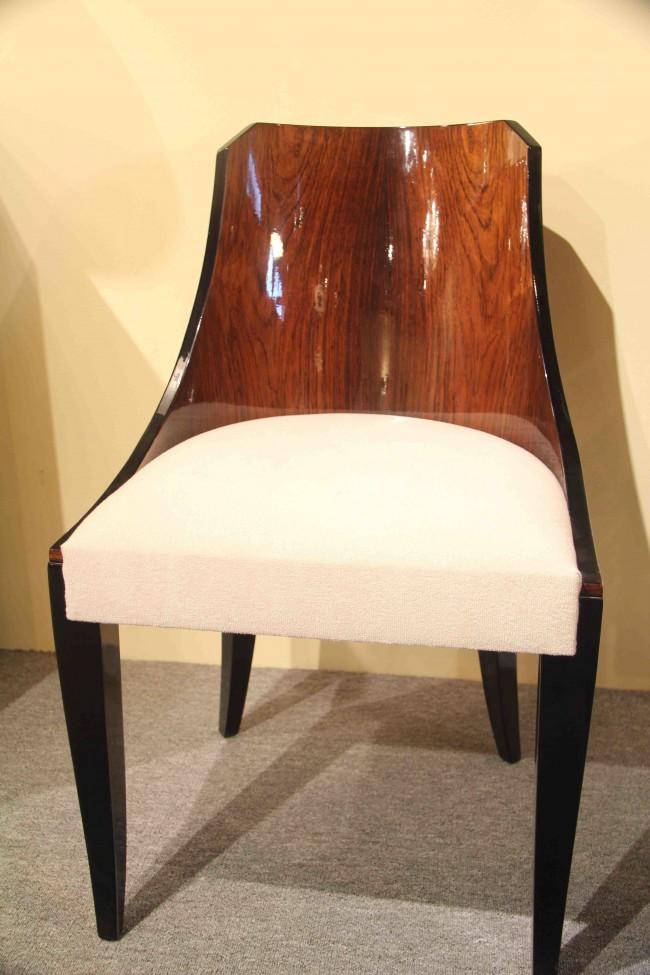 Six chaises gondole art déco en palissandre de rio /six art deco chairs in palisender of Rio