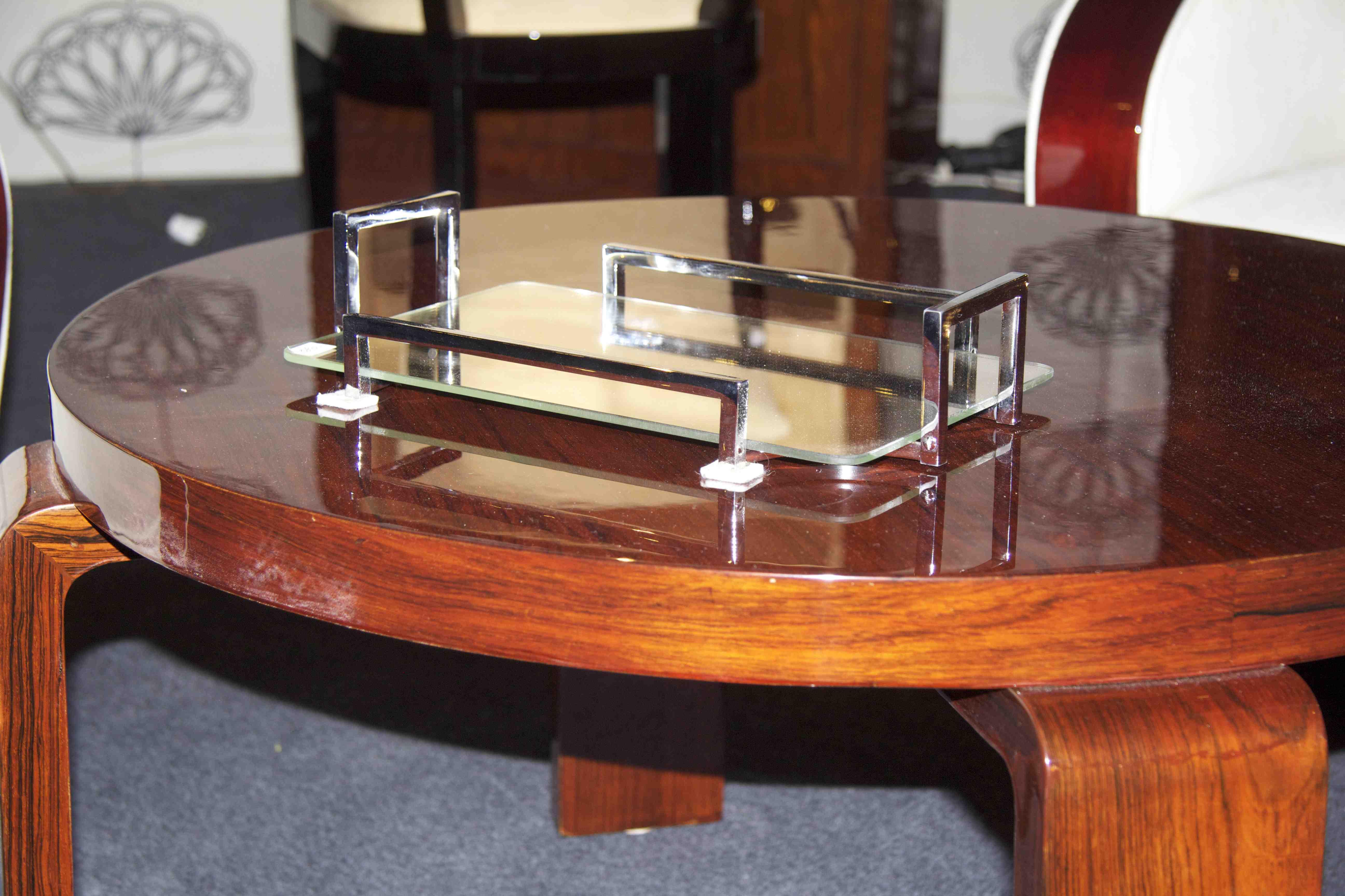 Table Basse Ronde Art Deco table basse art deco en palissandre de rio / table salon