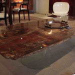 Table en bois petrifie Claudia/Petrified table Claudia