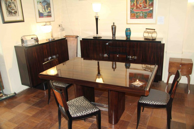 Salle à manger art deco en ébène de Macassar / Dinning room Macassar TABLE ET CHAISES VENDUES