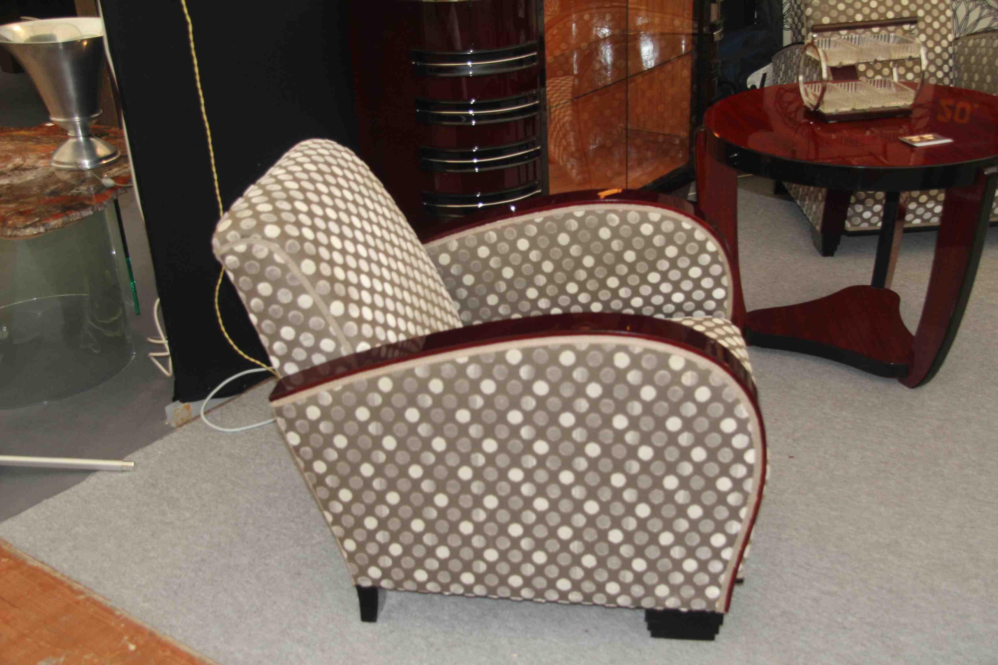 fauteuils art deco en bois clair et tapisserie de velour img_0201 img_0202 img_0205 - Fauteuil Art Deco