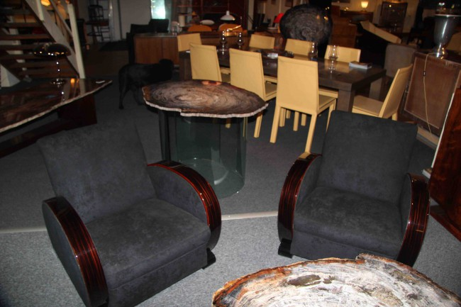 Salon  art deco ébène de macassar deux fauteuils   ref sl 2/ armchair art deco macassar