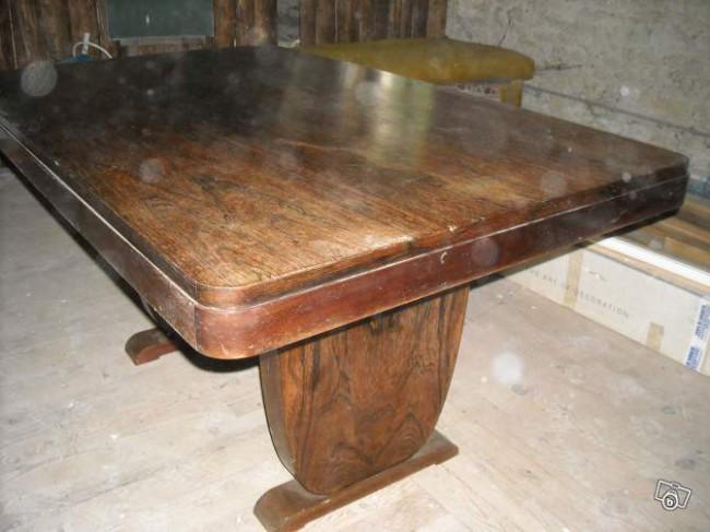 table à rallonge art deco en palissandre de Rio ref; tab 23 /Dining table art deco