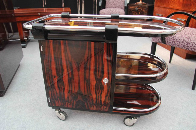 Bar trolley art deco en ébène de Macassar