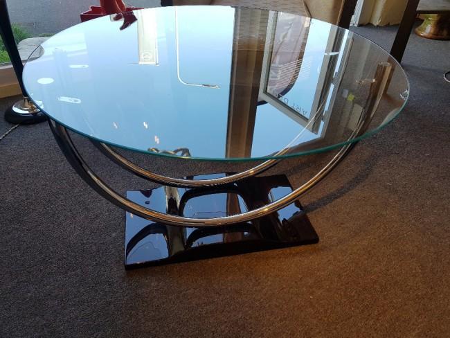 Table basse Art deco ébène et chrome VENDUE