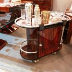 Bar à roulettes art deco en palissandre / Bar art deco VENDU